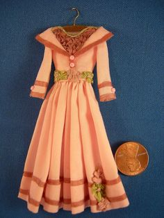 Dollhouse Miniature Pink Doll Dress on Hanger in 1:12 Scale One of A Kind OOAK