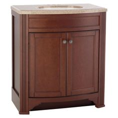 Style Selections Delyse Auburn Integral Single Sink Bathroom Vanity with Solid Surface Top (Common: 31-in x 19-in; Actual: 30.75-in x 18.5-in)