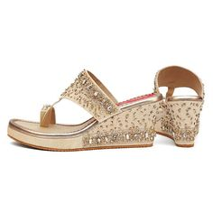 """All made to order products take 10-12 days to produce and dispatch so the shipping time frames differ from regular products. The """"have to have in your closet"""". On an ivory white base, this pair has a mix of embellishments and rhinestones, in a mix of gold and silver. The elements are closely stitched on one side and gr Gold Wedge Shoes, Gold Wedges, Bridal Shoes, Wedding Shoes, Bridal Footwear, Adiddas Shoes, Streetwear Shoes, Shoes Stand, Bag Icon"""