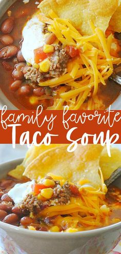 The best recipe for Taco Soup. We eat this soup once a week in our house! The best recipe for Taco Soup. We eat this soup once a week in our house! Quick Beef Recipes, Best Mexican Recipes, Quick Dinner Recipes, Grilling Recipes, Nacho Soup Recipe, Chicken Taco Soup, Clean Eating Recipes, Tasty Recipe, Recipe Recipe