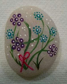Flowers Rock hand painted rock stones mandala by AmysRockCandy