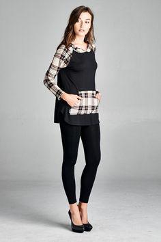 Flannel Contrast Hoodie