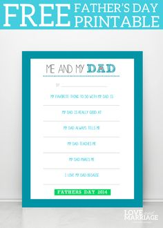 Me and My Dad - Father's Day Printable - Love and Marriage