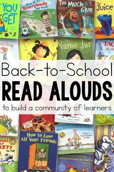Great list of books and read alouds perfect for back to school that help build and foster a classroom community, and help teach rules,…