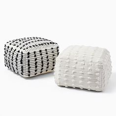 """A perfect perch for your feet or as impromptu extra seating, there's plenty of shine handwoven into our Sparkle Pom Pouf to add personality to a small space or living room. Plus, as a Fair Trade Certified(TM) product, each piece directly improves the life of the artisan who makes it. KEY DETAILS 22""""sq. x 13""""h. 80% wool, 20% cotton. 100% polystyrene bead filling. Handwoven by Craftmark-certified artisans. Your purchase of handcrafted items helps preserve craft traditions worldwide. Pre-filled; co Modern Pillows, Decorative Pillows, Home Interior Accessories, Modern Playroom, Outdoor Pouf, Black And White Pillows, Wooden Pegs, Knitted Throws, Extra Seating"""