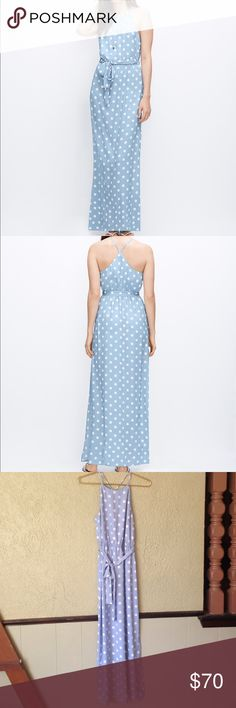 "Stunning Ann Taylor Maxi Dress Stunning baby blue with white polka dot Maxi dress from Ann Taylor. Top is fully lined. Elastic at waist with belt. Side slit on one side. No zipper. 100% polyester. Size 4P. Chest 34"". Waist 25"". Length 54.5"" shoulder to hem. Perfect condition no rips or stains. Ann Taylor Dresses Maxi"