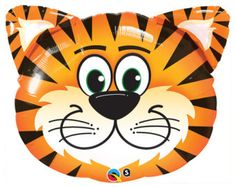 """30"""" Tiger Tickled Face Mylar Balloon Birthday Party Decorations Favors Supersized Centerpiece Zoo Jungle Circus Animals"""