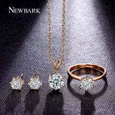 Find More Jewelry Sets Information about NEWBARK Bridal Set 6Prong Cut CZ…