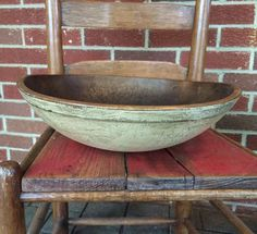 Antique Primitive Wooden Old Dough Bowl Milk Paint | eBay
