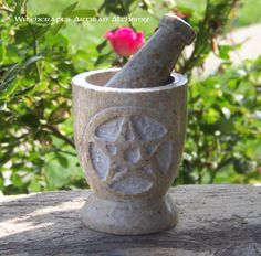 Old European Master Crafted Magical Arts™ Wicca Witchcraft, Magick, Pagan, Male Witch, Sabbats, Soapstone, Pentacle, Mortar And Pestle, Altars