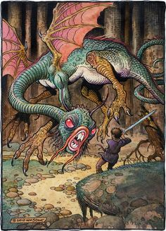 """sorcerersskull: """"Art by William Stout """"He took his vorpal sword in hand: Long time the manxome foe he sought —"""" - Lewis Carroll """"Jabberwocky"""" """" Fantasy Creatures, Mythical Creatures, Mythical Birds, Richard Wagner, Fantasy Illustration, Sci Fi Art, Salt Lake City, Art Reference, Illustrators"""