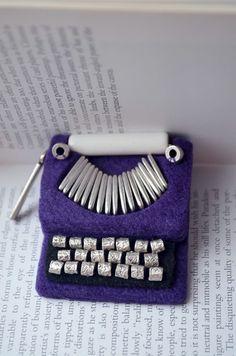 Purple Typewriter Brooch / Felt Brooch