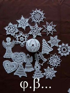 Christmas trees - Her Crochet Quilted Christmas Ornaments, Crochet Christmas Decorations, Crochet Christmas Ornaments, Christmas Crochet Patterns, Handmade Christmas, Christmas Trees, Crochet Snowflake Pattern, Crochet Flower Tutorial, Crochet Snowflakes