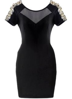 Iced Shoulders Dress: Features a sexy mesh yoke with illusion sweetheart neckline, glittering gold sequin trim sprinkled on both shoulders, striking body-conscious silhouette, and a centered rear zip closure to finish.