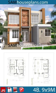 House Plans with 4 Bedrooms - Sam House Plans Autocad, Small House Floor Plans, House Construction Plan, 4 Bedroom House Plans, Model House Plan, Fantasy House, Ground Floor Plan, House Elevation, Room Planning