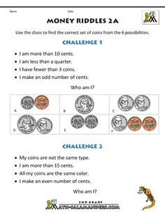 The 42 best 2nd grade math worksheets images on pinterest kids 2nd grade math worksheets money riddles 2af 800 ibookread Download