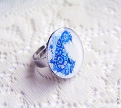 Gzhel painting blue ring. $15.00, via Etsy.