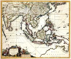 Dutch former Colonies, Asia, Dutch East Indies - This Day in History: Mar Dutch East India Company Vintage Maps, Antique Maps, East India Company, Unity In Diversity, Dutch East Indies, Map Globe, Old Maps, Countries Of The World, 17th Century