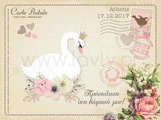 Vintage προσκλητήριο βάπτισης carte postale για κοριτσάκι με θέμα τον κύκνο και τα λουλούδια, με φάκελο και συνδυάζεται με μπομπονιέρα και πακέτο βάπτισης/130