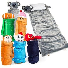 SUPER FUN  UNIQUE Sleeping BagOvernight  Travel Kit For Kids Buddy Bagzs All in 1 TravellingMadeEasy Solution Complete W Stuffed Animal Pillow Sleeping Bag Toiletry  Overnight Bag Koala * You can get more details by clicking on the image.