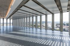 Image 8 of 31 from gallery of Grosspeter Tower / Burckhardt+Partner AG. Photograph by Adriano Biondo Basel, Interior Walls, Facade, Tower, Architecture, Gallery, Work Spaces, Ceilings, Photograph