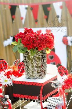 Lady Bug Party theme continued.....May have pinned this twice. Love the vase.