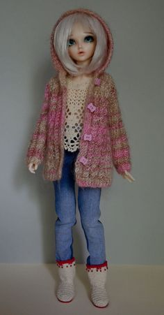 Knitted mohair cardigan for Minifee MSD BJD by HelenDollClothes
