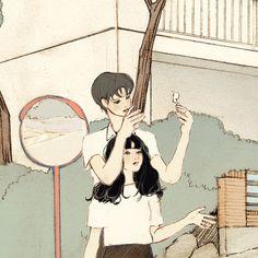 韓國살구 salgoolulu動態圖 Animated Gif Illustrator by 살구 salgoolulu Aesthetic Anime, Aesthetic Art, Couple Illustration, Illustration Art, Couple Drawings, Art Drawings, Sketch Poses, Cute Couple Art, Korean Art