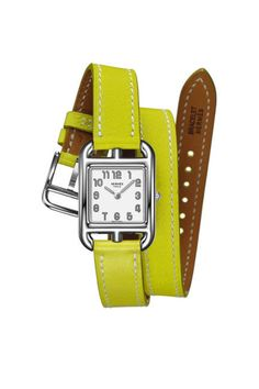 Hermes Cape Cod watch in lime green, $2,700