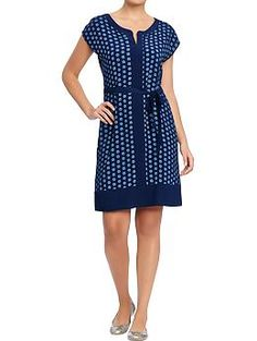 Women's Printed Cap-Sleeve Shift Dresses   Old Navy