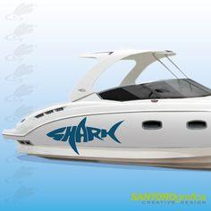 adesivo per barca - scritta shark - disponibile in vari colori.