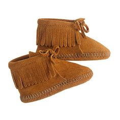 Minnetonka Baby Fringe Booties: Minnetonkas soft suede booties ($20) are perfect for tiny soles.