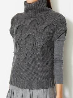 Cable Knit Wool Short Sleeve Turtleneck by Akris Punto at Gilt