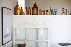 Group painted glassware & bottles on shelves- via Rue Magazine (June 2012 Issue). Photography by Woodnote Photography. Interior Design by Ylva Skarp. Interior Decorating, Interior Design, Decorating Ideas, Decor Ideas, Amber Glass Bottles, My Furniture, Home Decor Inspiration, Living Spaces, Sweet Home