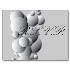 $1.03 - Steel Bubbles RSVP Postcards - Just stamp these and add them to your Wedding Invitations instead of bulky response card, and save money on postage! Respond with menu selection or any other count requirement you may have. Gradient circles on a soft grey background. The color scheme lends a metallic feel to this theme. Silver and Black theme with graceful lettering. Also may look like Champagne bubbles!