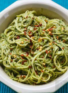 Raw Zucchini Spaghetti with Walnut Pesto - 12 Super Vegetable Spaghetti Recipes | GleamItUp