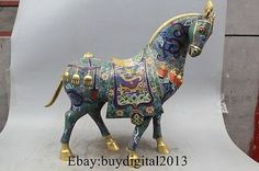 21 Chinese Bronze 100% 24K Gold Cloisonne Lucky Zodiac Year Dragon Horse Statue