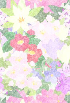 色々な花で作られたテクスチャ