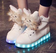 Fashion students cartoon colorful USB charging LED luminous shoes