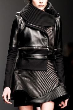 Panelled leather jacket; structured fashion details // David Koma AW13