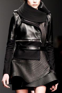 Panelled leather jacket; structured fashion details // David Koma AW13