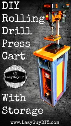 Everyone loves a good workshop build! Check out this easy tutorial for a rolling drill press cart with storage for sanders and forstner bits. It's a great DIY build for all levels of woodworkers. To see more visit www.LazyGuyDIY.com