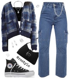Tomboy Fashion, Teen Fashion Outfits, Retro Outfits, Cute Casual Outfits, Look Fashion, Streetwear Fashion, Stylish Outfits, Cardigan Outfits, Blue Cardigan