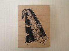 Artist Third Coast Cat Sleeping Under Wizard Witch Hat Halloween Wm Rubber Stamp | eBay
