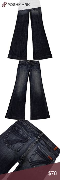 """7 For All Mankind Dojo 26X31.5 Lexie Petite (#430) NWOT A Nice Pair Of 7 For All Mankind """"Dojo The Lexie"""" Women's SZ 26 Flare Leg Dark Blue Wash With Blue Stitched 7 Low-Rise Stretch Jeans.  Style# U115PT528S-528S Cut# 721998 Measurements: Waist: 26"""" Hips: 35"""" Front rise: 7.75"""" Back rise: 12.25"""" Inseam: 31.5"""" 7 For All Mankind Jeans Flare & Wide Leg"""