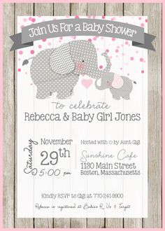 Elephant Baby Shower Invitation - Elephant Theme - Little Peanut - Baby Shower - Baby Sprinkle - Customize - Printable - 5x7 - Baby Girl - Pink and Gray
