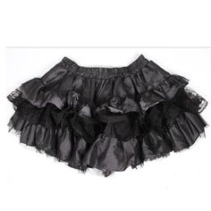 Black Silver Stripe Layer Ruffle Gothic Lolita Mini Tutu Skirt Women SKU-11402080