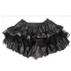 Black Silver Stripe Layer Ruffle Gothic Lolita Mini Tutu Skirt Women SKU-11402080