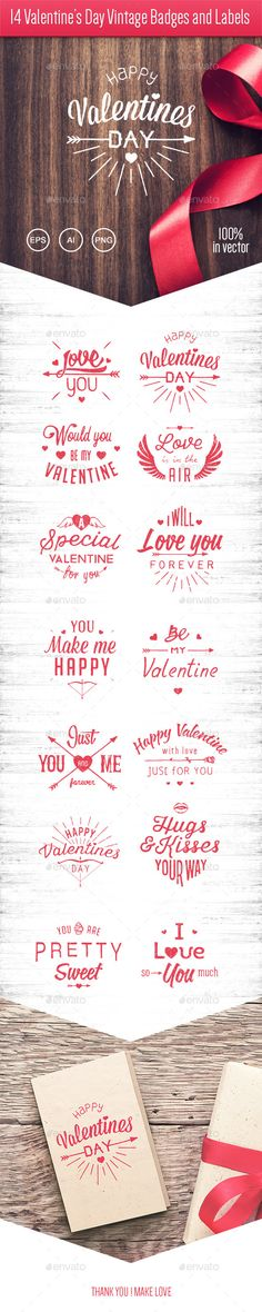 14 Valentine's Day Vintage Badges and Labels Vector Template #design Download: http://graphicriver.net/item/14-valentines-day-vintage-badges-and-labels/10227313?ref=ksioks