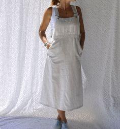 Susan Bristol Linen Dress  Retro Overalls by NettysGirlVintage